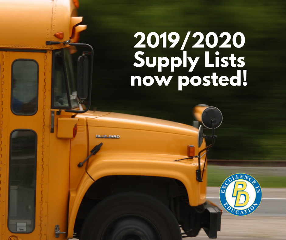 Elementary and Middle School supply lists posted
