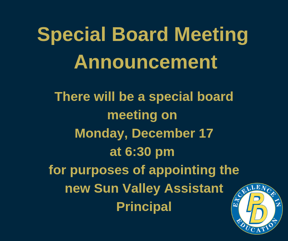 Special Board Meeting Announced