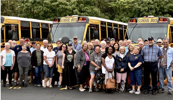 Bus driver group shot