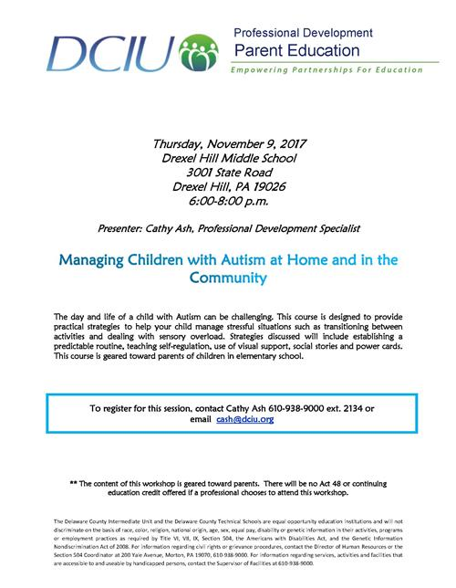 DCIU Professional Development - Parent Education